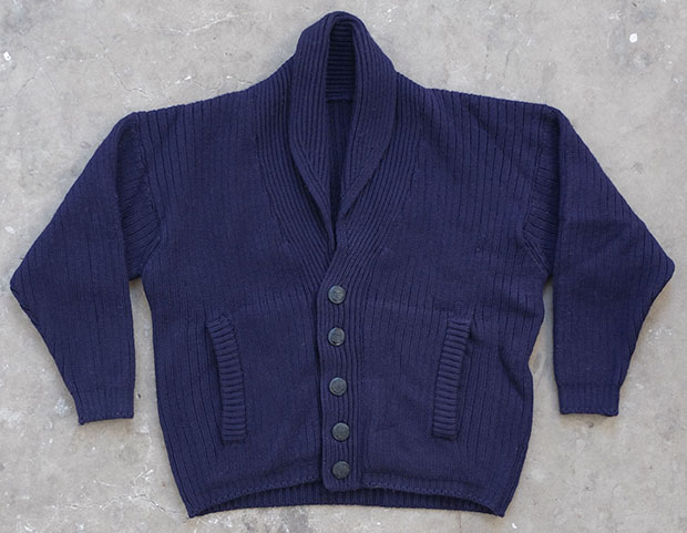 1940s USA Maritime Navy Blue Shawl Cardigan (00038)