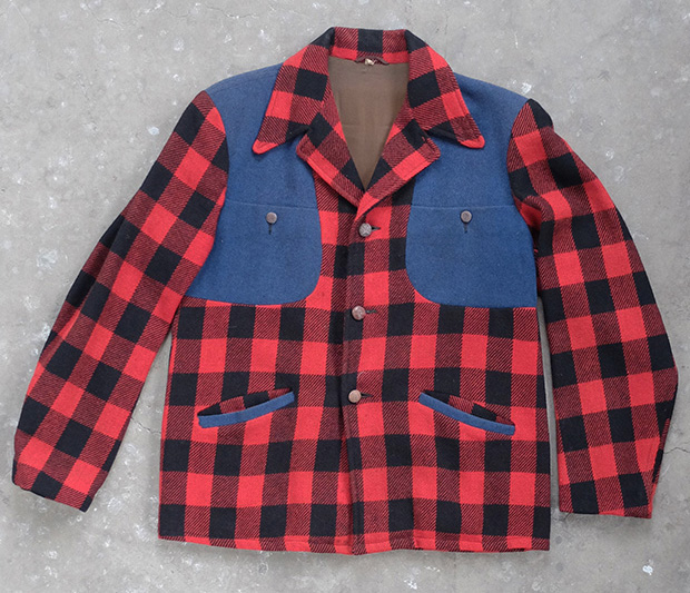 Red & Black Check Hunting Jacket With Blue Panels (00290)