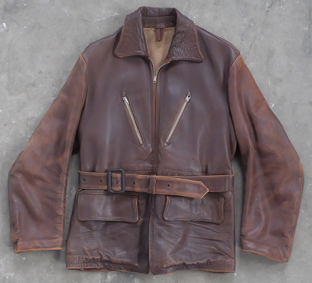 1940s English Brown Belted Leather Jacket (00474)
