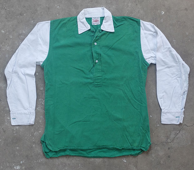 1960s Green & White Umbro 'Matt Busby' Sports Shirt (01126)