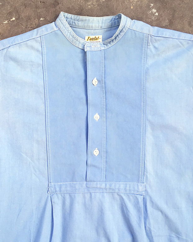 Sky Blue 1940s Collarless Pullover Shirt (01547)